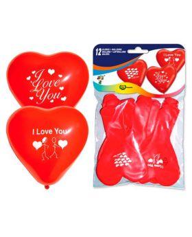 12 globos de corazon rojos I love You