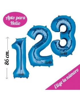 Globo Foil Anagram® Número 86cm Azul Cobalto Helio. Pincha y elige tu número