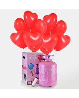 bombona de helio maxi con 50 globos corazon rojo