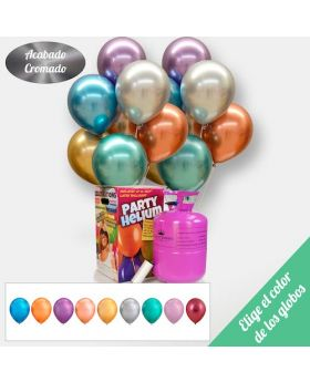 Pack A TU GUSTO Maxi + 50 Globos Cromados 28cm. Elige el color de los Globos