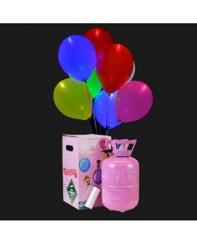 Bombona de helio mini con 15 globos led de colores