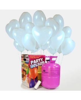 bombona de helio maxi con 50 globos corazon blanco