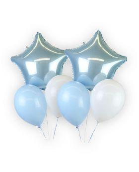 Boquet globos azul claro foil metálicos y látex