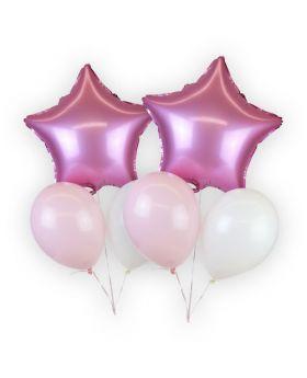 bouquet globos foil metalicos y  latex rosa claro
