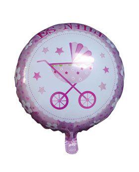 globo foil redondo carricoche bautizo es una niña