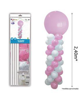 Columna de globos rosa y blanco de 2,40m