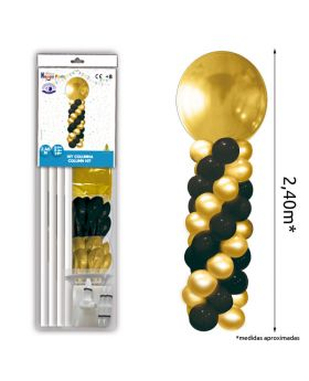 Columna de globos oro y negro metalizados de 2,40m