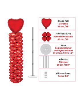 Columna de globos foil metalicos forma de corazon de 1,60m