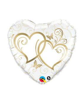 Globo foil metálico para bodas DECO Corazon 45cm anillos Qualatex®