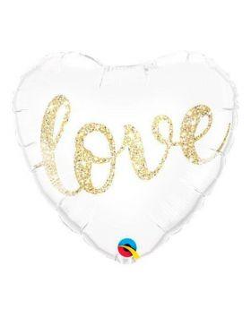 globo foil corazón DECO Love purpurina Qualatex®