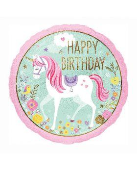 Globo foil metalico happy birthday de unicorio