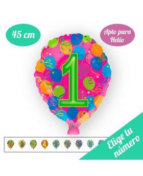 Globo Foil Número 45cm Colores HELIO. Pincha y elige tu número