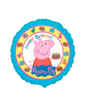 globo foil redondo happy birthday Peppa Pig