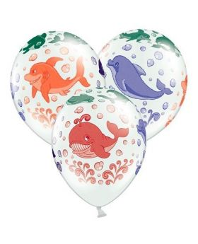 Bolsa 6 Globos DECO Strong Balloons® Látex 30cm Animales del Océano