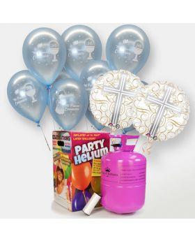 globos de comunion de niño con bombona de helio