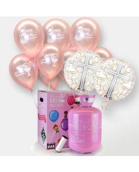 globos de comunion rosas con bombona de helio