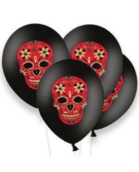 Bolsa 6 Globos Látex 30cm DECO Calaveras Strong Balloons®