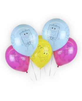 6 globos de látex de 30cm de Bob Esponja