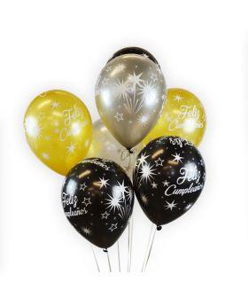 globos feliz cumpleaños elegant oro, plata y negro