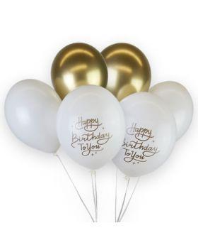globos Happy Bithday blancos y oro cromados