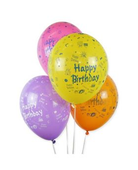 Bolsa 10 Globos DECO Látex 28cm Happy Birthday