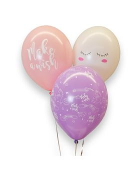 "Bolsa 6 Globos DECO Strong Balloons® Látex 30cm ""Make a wish"""