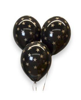 Bolsa 6 Globos DECO Látex Strong Balloons® Látex 30cm Estrellas Doradas