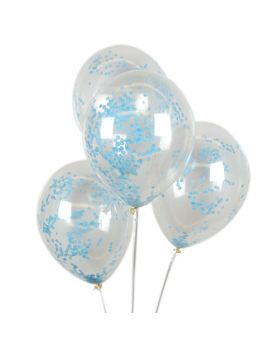 Globos transparentes con confeti real azu claro