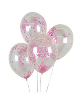 6 globos de latex confeti real rosa