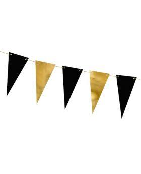 Guirnalda de banderines Oro&Negro