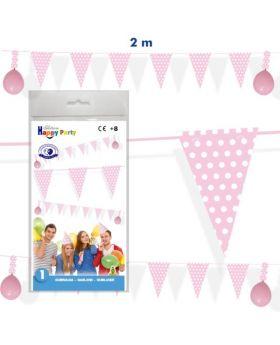 guirnalda de cumpleaños de banderines rosa de 2m