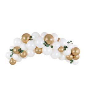 Guirnalda orgánica 2m y 60 globos blancos y dorados