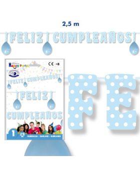 guirnalda feliz cumpleaños azul claro de 2,50m