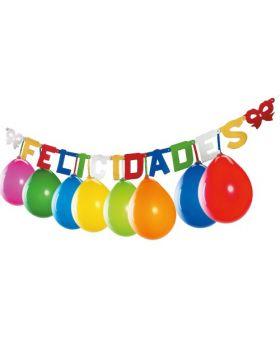 guirnalda Felicidades con globos de colores