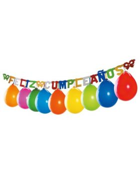 guirnalda Feliz Cumpleaños con globos de colores