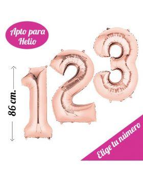 Globo Foil Número 86cm Rosa Dorado Helio. Pincha y elige tu número