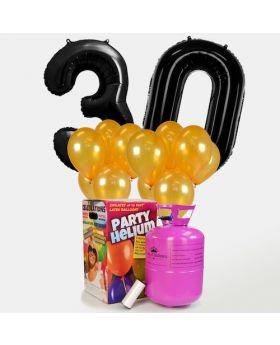 globos de cumpleaños color negro y oro con helio