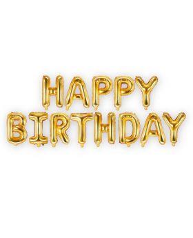 Set Happy Birthday Letras Foil 35cm Oro. SOLO AIRE