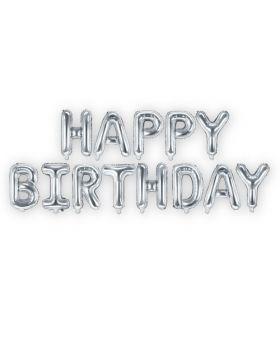 Set Happy Birthday Letras Foil 35cm Plata. SOLO AIRE