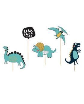 5 Toppers de Decoración de Dinosaurios