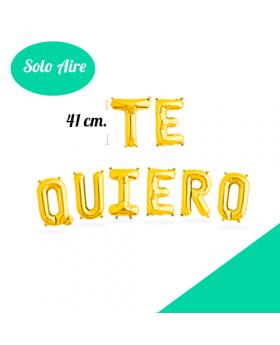 Set TE QUIERO Letras Foil 41cm Oro