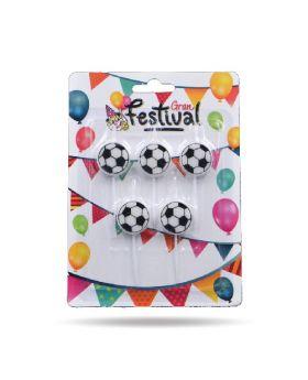 5 velas pelota de futbol